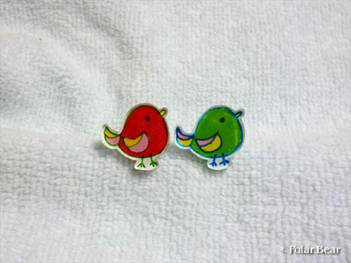 プラ板 小鳥さんピアス