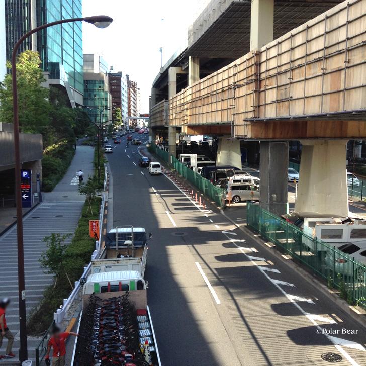 六本木一丁目駅 港区自転車シェアリング 高速道路工事