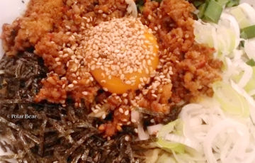 三鷹台駅 麺旨のほんわか 台湾まぜそば ポーラベア