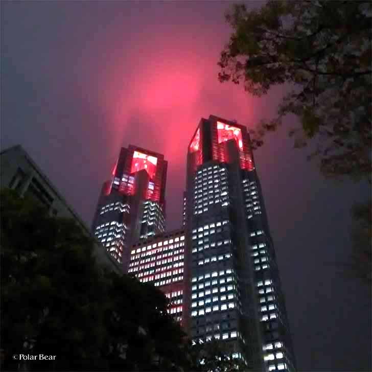 新宿 街 都庁 赤い ライトアップ イルミネーション ポーラベア