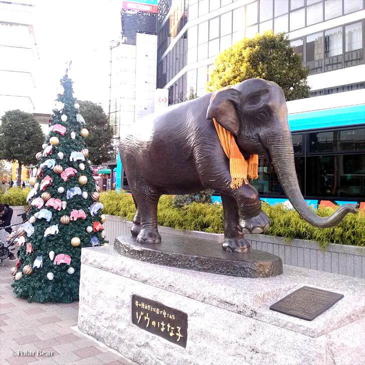 吉祥寺駅前 ゾウのはな子さん像 マフラー クリスマスツリー ポーラベア