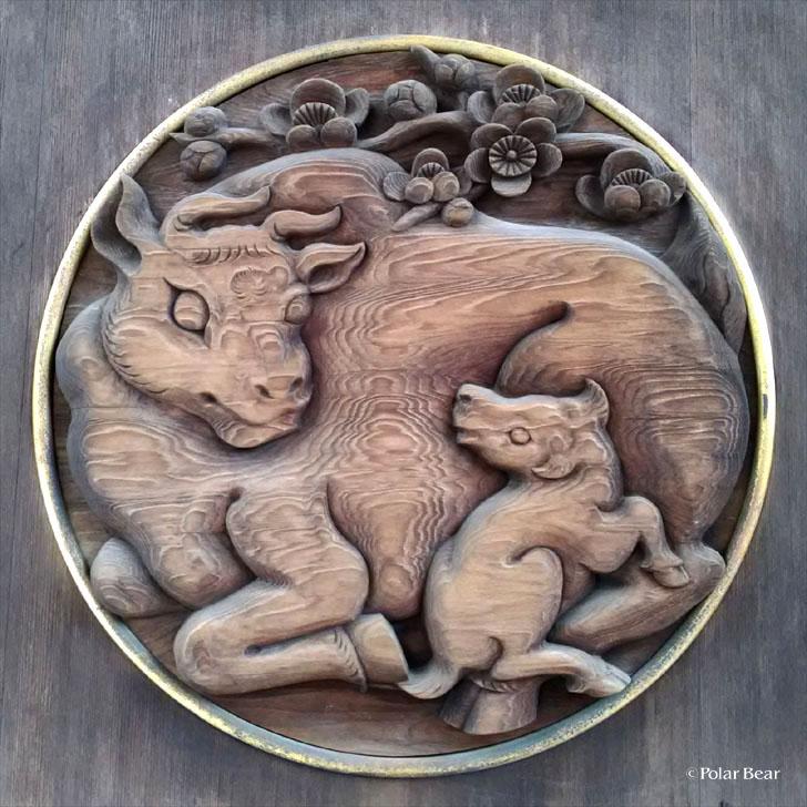 湯島天満宮 湯島天神 唐門 御神牛 レリーフ 彫刻 東京都 文京区 ポーラベア