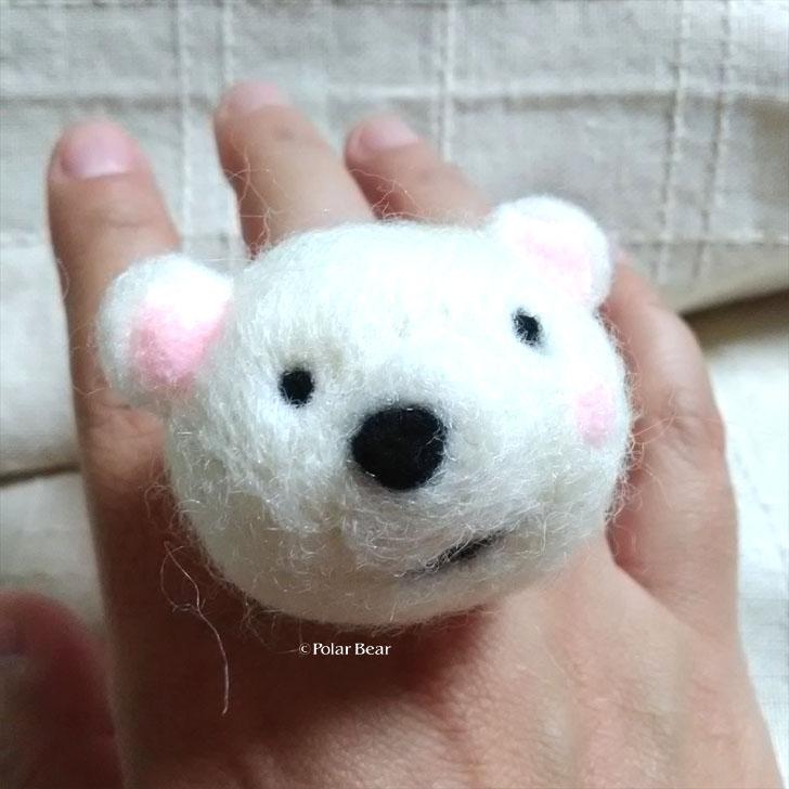 羊毛フェルト 白くまちゃん リング 指輪 ポーラベア
